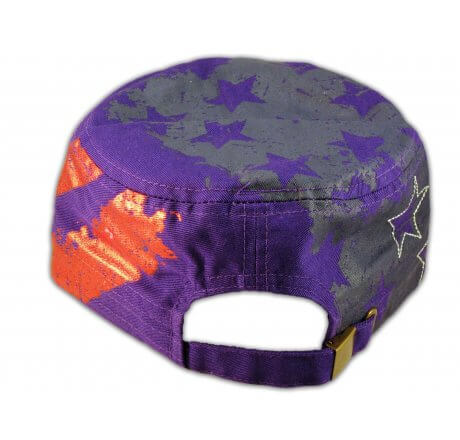 Purple Stars and Stripes Cadet Castro Cap Vintage Army Hat Distressed