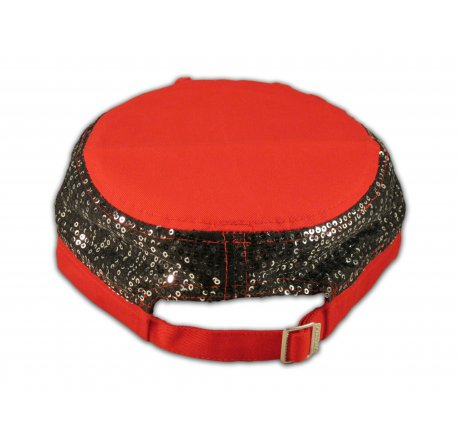 Red Sequins on Cadet Cap