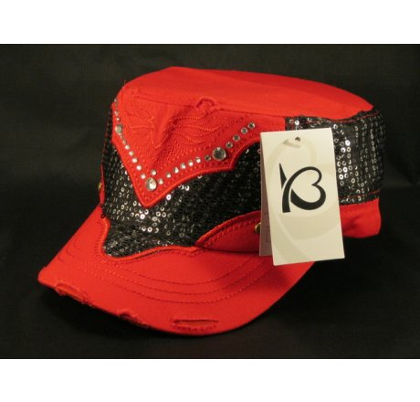Red Sequins on Cadet Cap Vintage Distressed Military Army Hat