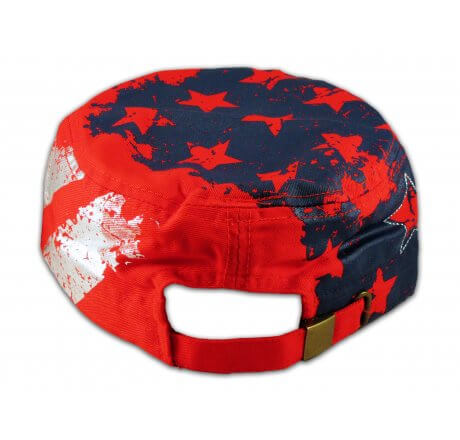 Red Stars and Stripes Cadet Castro Cap Vintage Army Hat Distressed