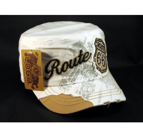 White Route 66 Cadet Castro Cap Vintage Military Army Hat Distressed