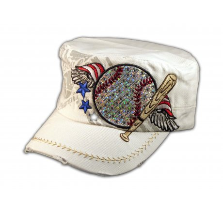 Baseball and Bat on White Cadet Cap