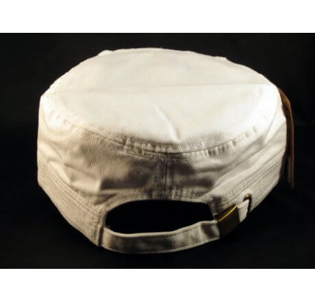Baseball and Bat on White Cadet Cap Vintage Hat Distressed Visor