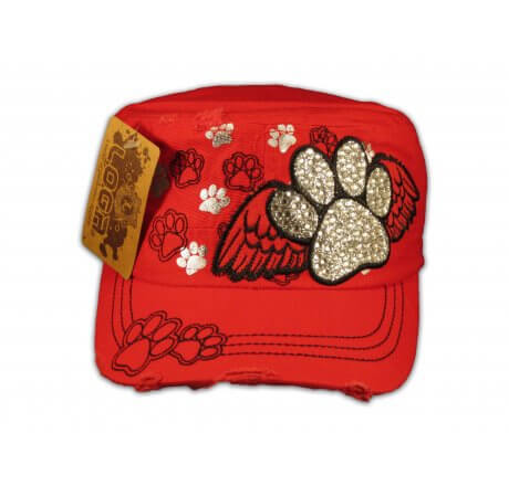 Paw Prints on Wings on Red Cadet Cap