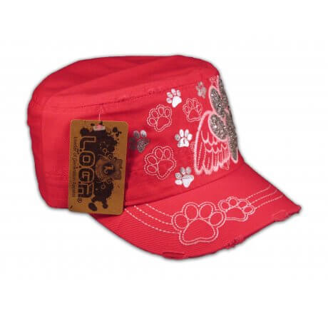 Paw Prints on Wings on Pink Cadet Cap