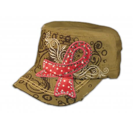 Khaki Breast Cancer Cadet Cap