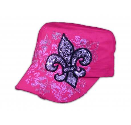 Fleur-de-lis on Pink Cadet Cap