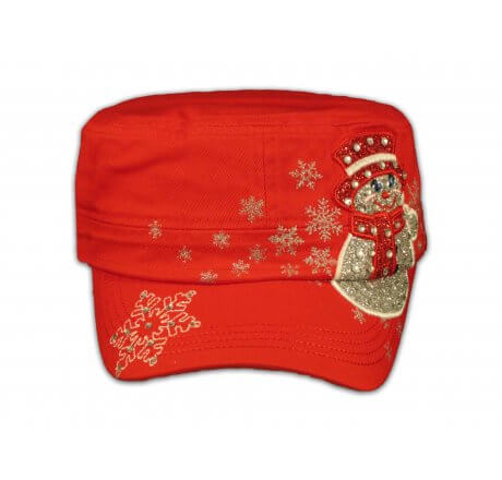 Christmas Snowman on Red Cadet Hat
