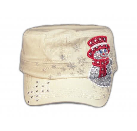Christmas Snowman on Stone Cadet Hat