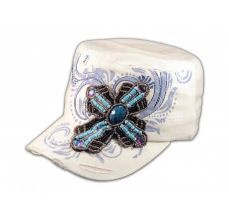 Turquoise Jeweled Cross on White Cadet Hat
