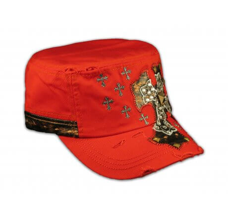 Jeweled Cross on Red Cadet Hat