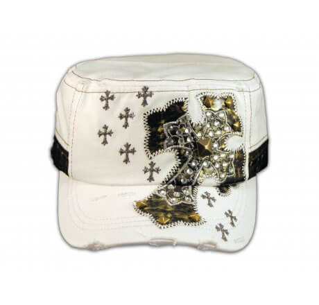 Jeweled Cross on White Cadet Hat