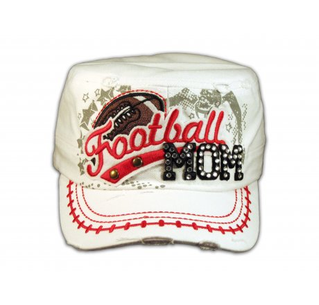 Football Mom White Army Cadet Hat