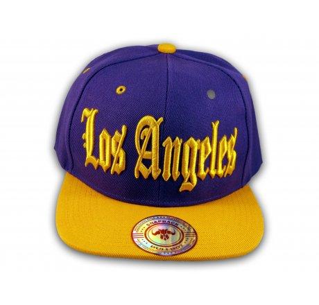 Los Angeles Snapback Purple Gold Baseball Hat Cap Flat Brim Bill