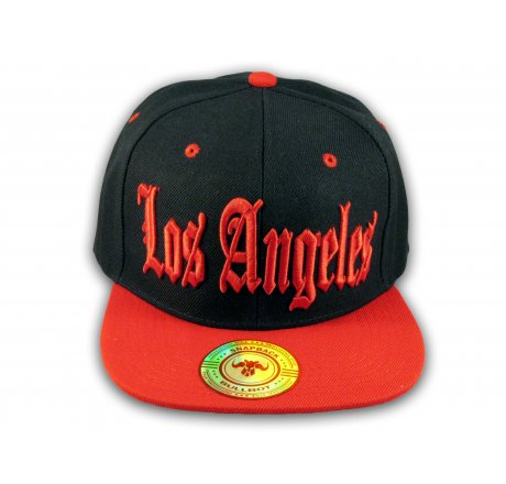 Los Angeles Snapback Black and Red Baseball Hat Cap Flat Brim Bill