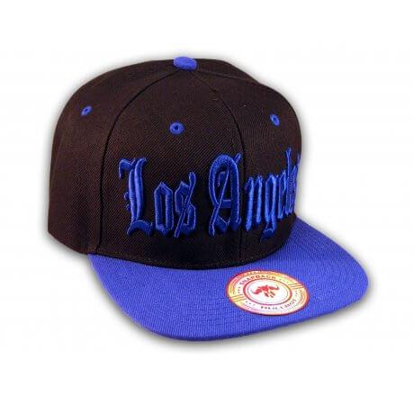 Los Angeles Snapback Black and Blue Baseball Hat Cap Flat Brim Bill