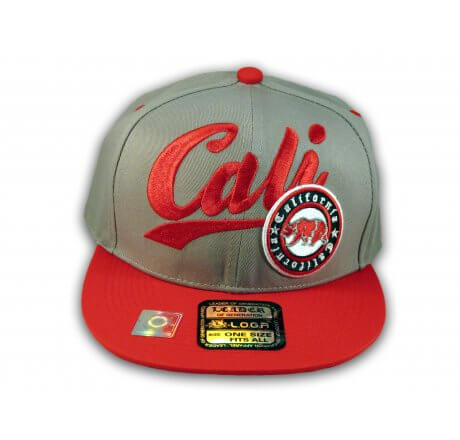 Gray and Red California Republic Snapback Hat 3D Cali Bear