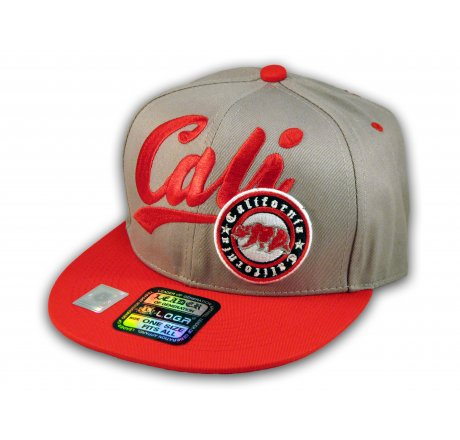 3a49739313d Gray and Red California Republic Snapback Embroidered Hat 3D Cali Bear -  Printed T-Shirts