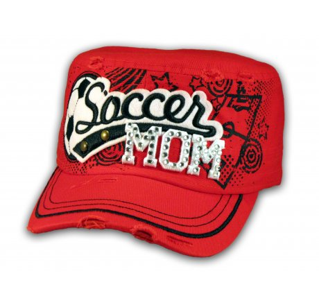 Soccer Mom on Red Cadet Cap Military Style Army Hat