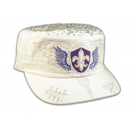 Fleur-de-lis and Wings on White Cadet Cap