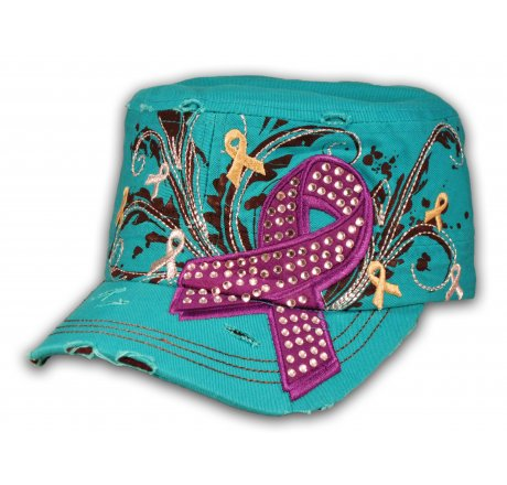 Turquoise Purple Cancer Ribbon Cadet Cap Distressed Military Army Hat