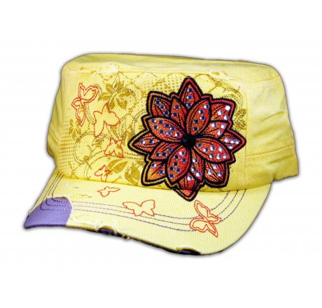 Yellow Cadet Hat with Flower
