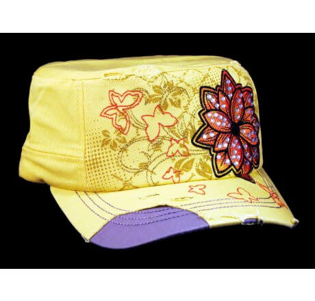 Yellow Cadet Hat with Flower Vintage Army Cap Jewels Distressed
