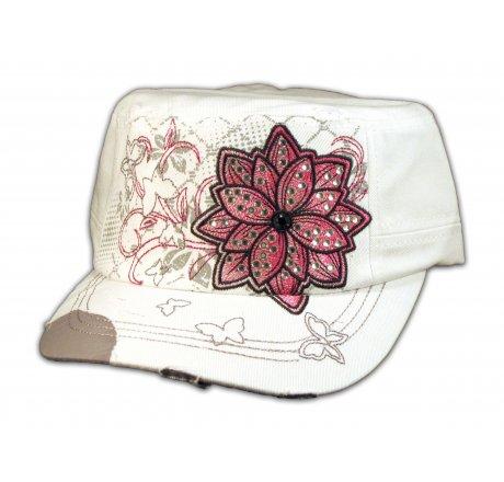 White Cadet Hat with Flower