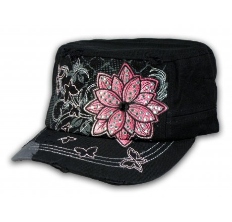 Black Cadet Hat with Flower Vintage Army Cap Jewels Distressed