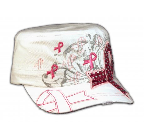 White Cancer Ribbon Hat