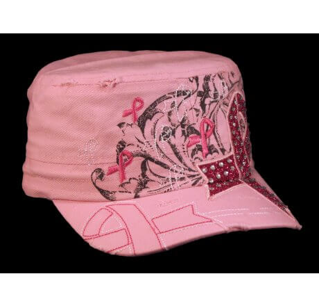 Pink with Pink Cancer Ribbon Cadet Cap Distressed Military Army Hat