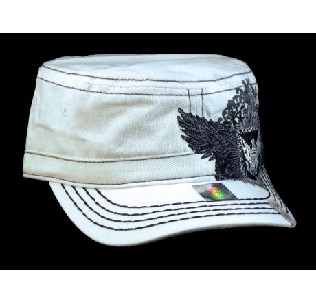 White Wing Crest Cadet Cap Vintage Military Army Hat