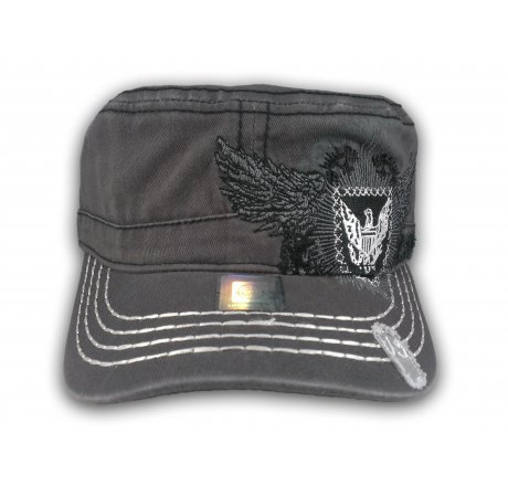Gray Wing Crest Cadet Cap Vintage Military Army Hat