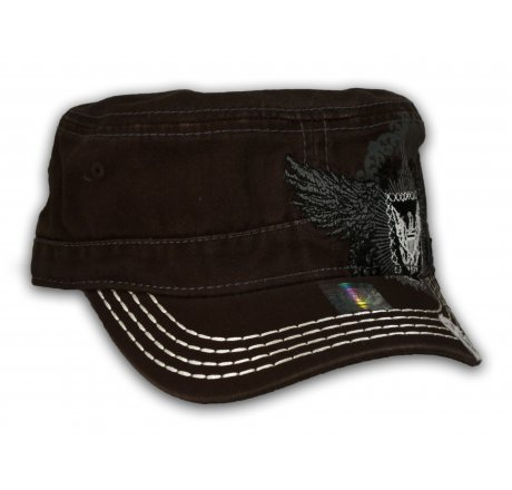 Brown Wing Crest Cadet Cap Vintage Military Army Hat