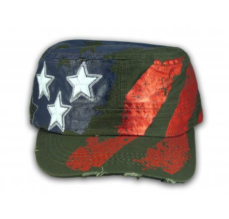 Olive Green Stars and Stripes on Cadet Cap Vintage Army Hat Distressed