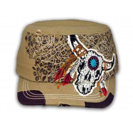 Khaki Indian Cow Skull and Horns with Feathers Cadet Cap Vintage