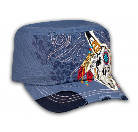Blue Indian Cow Skull and Horns with Feathers Cadet Cap Vintage
