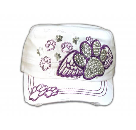 Paw Prints on Wings on White Cadet Cap