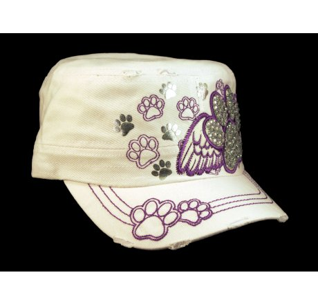 Paw Prints on Wings on White Cadet Cap Vintage Distressed Jewels