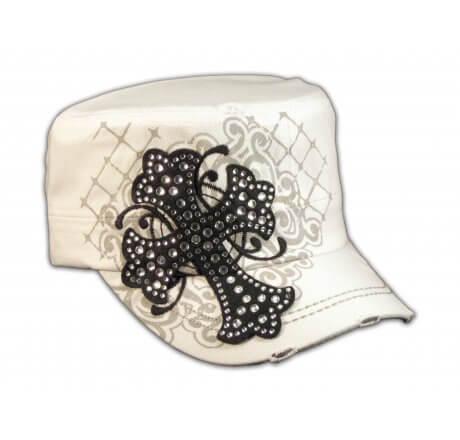 Black Jeweled Cross on White Cadet Castro Hat