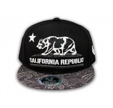 California Republic Bear Star Black Paisley Snapback Hat Flat Bill