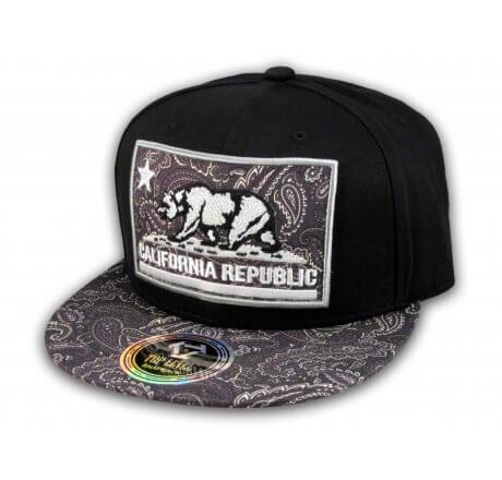 California Republic Bear Patch Black Paisley Snapback Hat Flat Bill