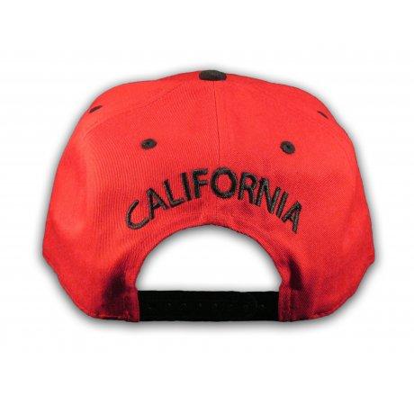 California Republic Bear Red Floral Baseball Cap Snapback Flat Bill