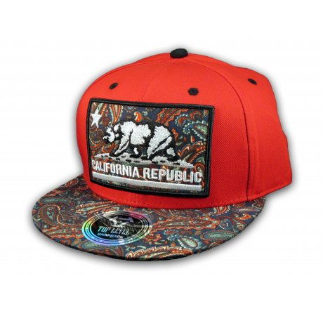 California Republic Bear on Red and Navy Paisley Baseball Snapback Hat