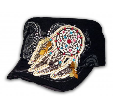 Black Indian Dream Catcher with Feathers Cadet Cap Vintage