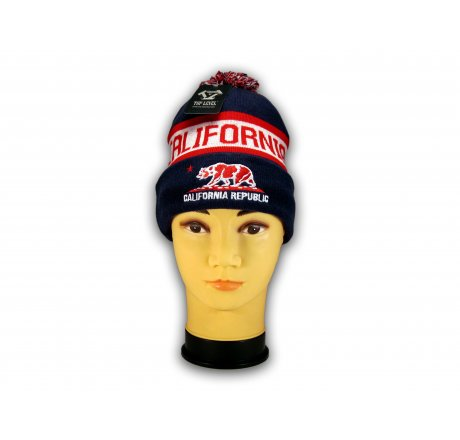Navy California Republic Cali Bear Cuffed Knit Beanie with Pom