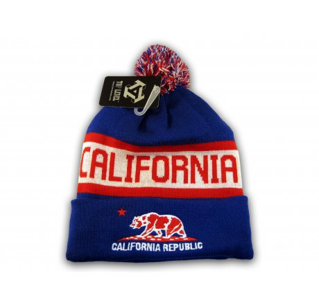 Blue California Republic Cali Bear Cuffed Knit Beanie with Pom