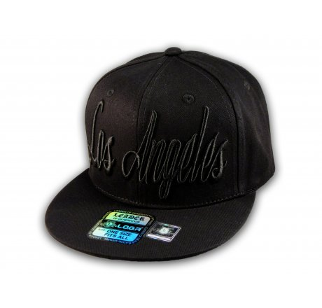 Black Los Angeles Baseball Hat Snapback Flat Bill