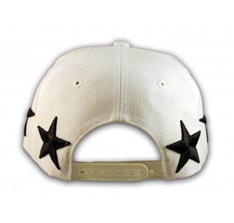Black Stars Embroidered on White Snapback Flat Brim Hat