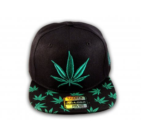 Black with Green Marijuana Cannabis Weed Pot Leaf Flat Bill Snapback